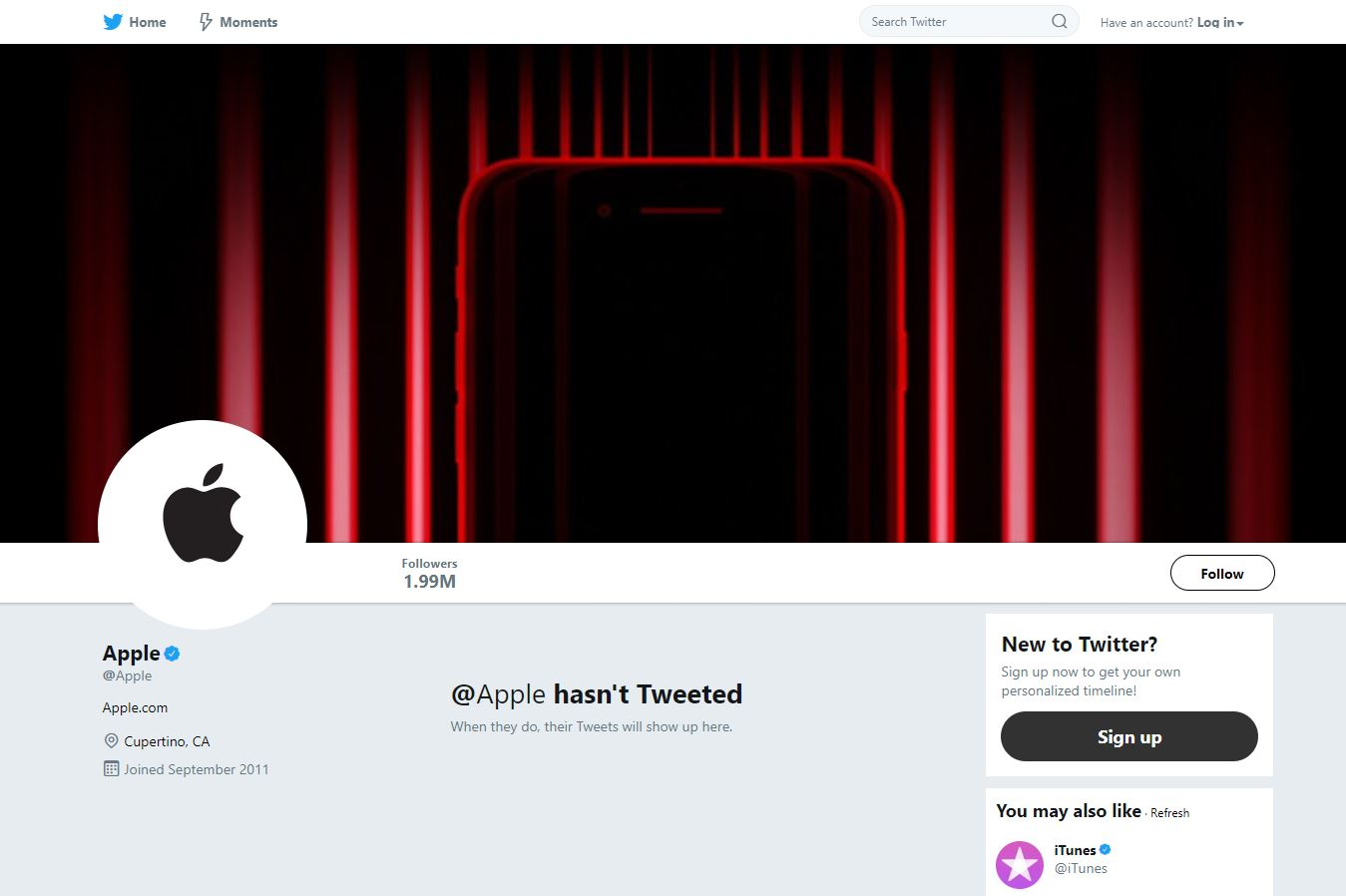 Apple's Twitter Profile